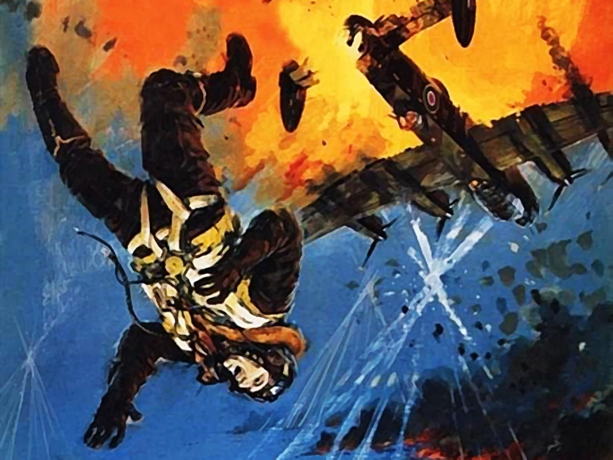 Pintura de un paracaidista cayendo de una avion en llamas
