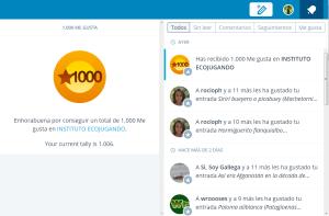 """Más de 1000 """"Me Gusta"""" para nuestro usuario administrador."""