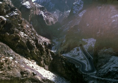 """Kabul Gorge or locally known as Tang-i-Gharoo which led to the Darae Maiee-Par (Flying Fish Valley). This is the highway which connects Kabul with the province city of Jalalabad. """