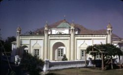"""""""A mosque building stands west to the mausoleum of King Abdul Rahman -- in the present Zarnigar Park, center of Kabul -- which was the Bostan Serai built by King Habibullah (son of King Abdul Rahman). Today is stands as a store room for the Department of Preservation of Monuments, Ministry of Culture."""""""