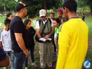 Identificando las aves observadas en el la guía de campo.