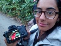 En cercanías del Centro Turístico Villa Adelaida, aquí Camila nos muestra una de las lindas fotos logradas del esquivo Rosy Thrush-Tanager.