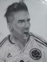 Dibujo de Falcao Garcia a lapiz