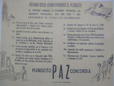 Pancarta Plebiscito colombiano de 1957