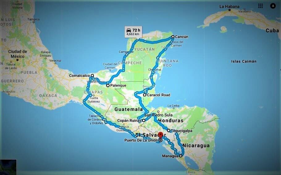 Mapa del Ferrocarril maya en centroamerica