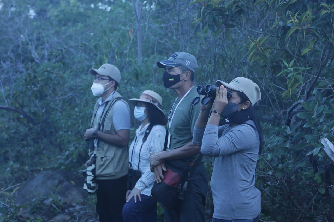 Grupo de senderistas en el bosque viendo un paisaje