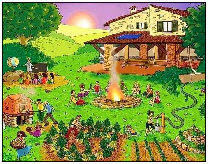 Ilustracion de una granja de permacultura