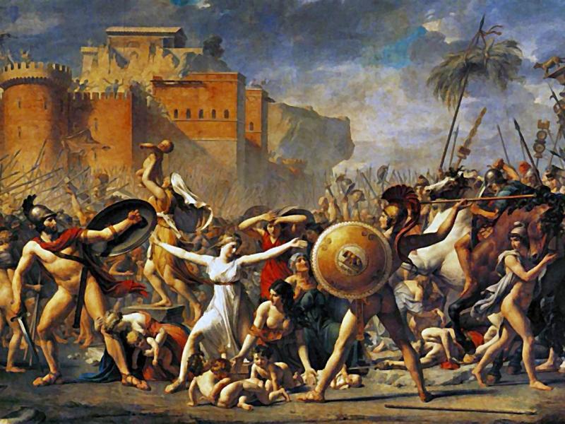Pintura que representa el rapto de las sabinas, oleo de Jacques-Louis David