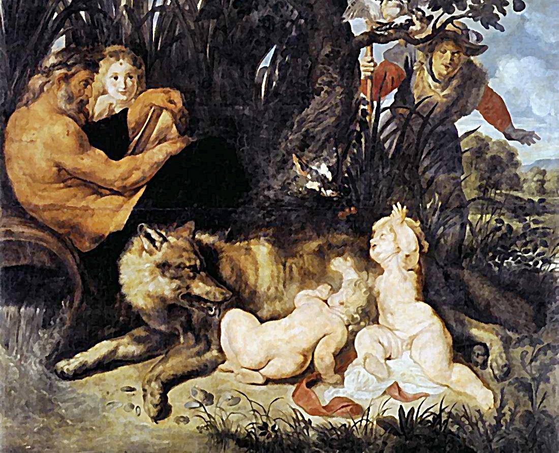 Pintura de Rubens, Romulo, Remo, la loba Luperca y los dioses romanos