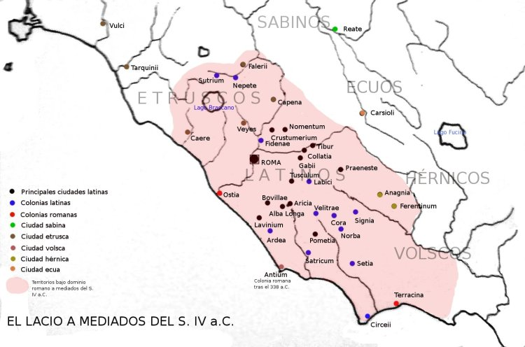 Mapa del Lacio en la antigua Roma