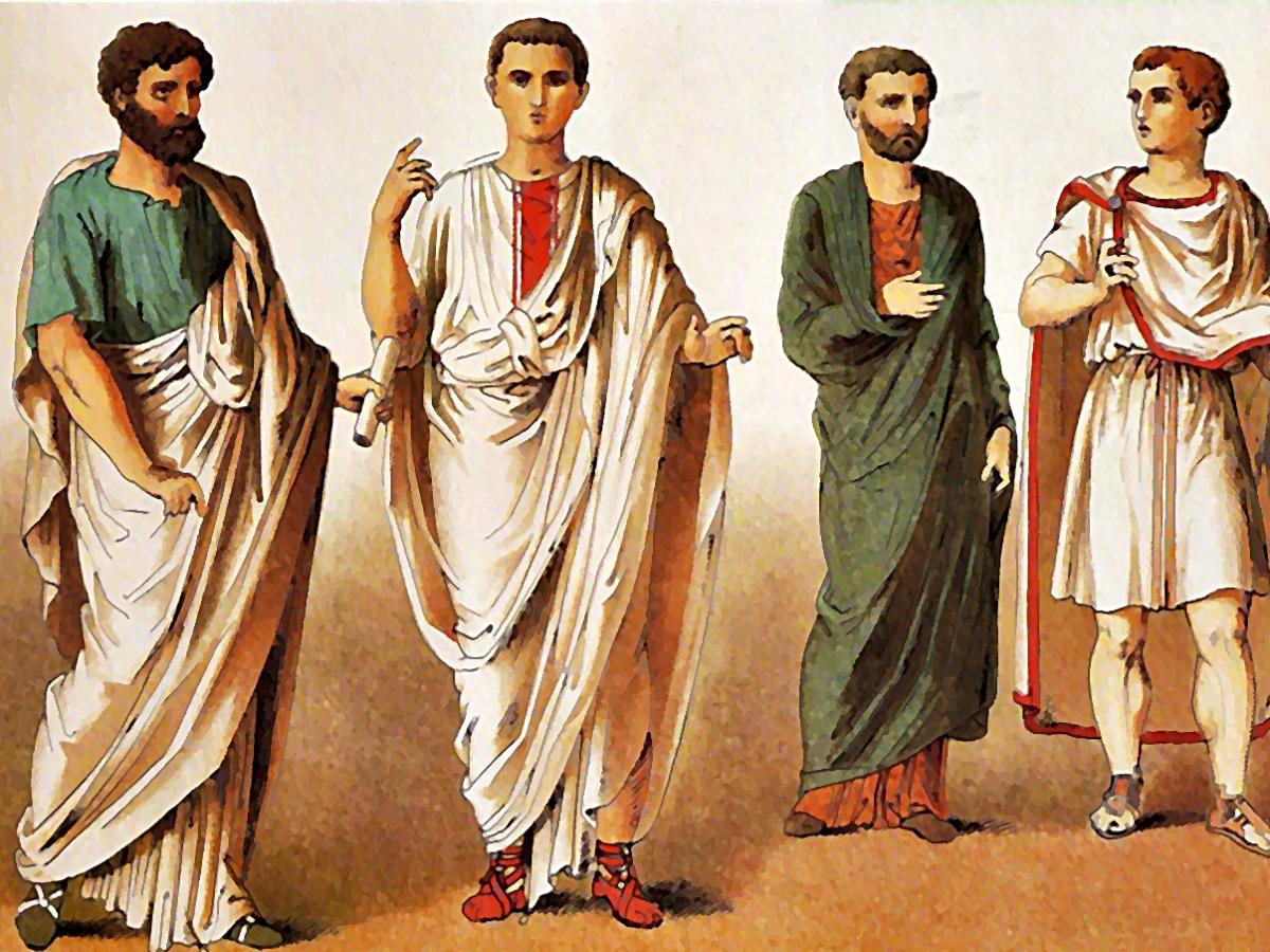 acuarela que muestra a cuatro hombres ciudadanos de Roma