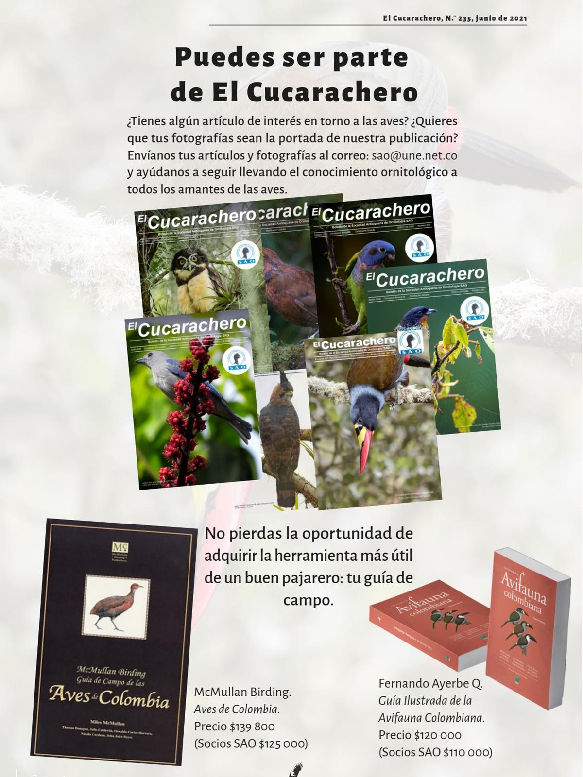Contraportada revista cucarachero de la sociedad antioqueña de ornitologia