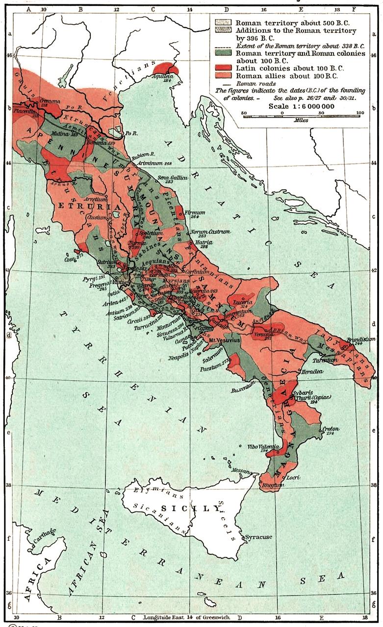 Mapa de la peninsula italiana durante la monarquia romana